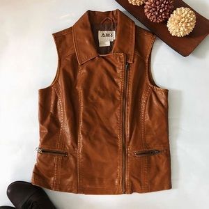 Jackets & Blazers - Faux leather vest. NEVER WORN BEFORE!